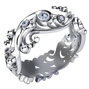 Кольца Aldzena.  Артикул: K-42011.  Кольцо, белое золото 585 пробы с...